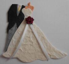 PK2 FORMAL TAILS SUIT BRIDE & GROOM BURGUNDY ROSE EMBELLISHMENTS FOR CARDS
