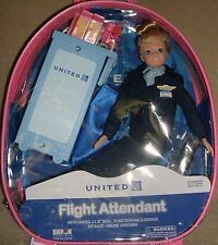 "Flight Attendant Doll United Continental Merger Airlines 11"" Blond w/ Backpack"