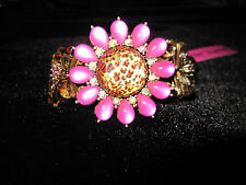 BETSEY JOHNSON LEOPARD LARGE PINK FLOWER STRETCH BRACELET WITH BOWS ON SIDE