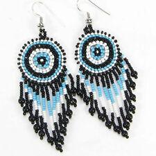 TURQUOISE BLUE BLACK WHITE BEADED EARRINGS HANDMADE BEAD JEWELRY E19/4