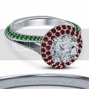 14k White Gold Gp 925 Silver Rd Multi-Stone Disney Princess Halo Engagement Ring