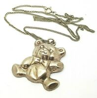 Vintage Sterling Silver Large Puffed Teddy Bear Pendant Necklace