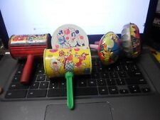 Vintage Tin Litho Noisemakers- Lot of 5 - - Us Metal Toy- Wood Handles