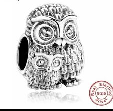💎🎀 STERLING SILVER 925 MOTHER OWL & BABY OWL CHARM &  POUCH