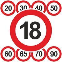 Geburtstagsschild 18 20 25 30 40 50 60 70 Verkehrszeichen Schild Straßenschild