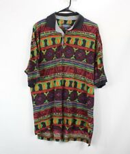 Vintage 90s Mens Large Abstract Tribal Print Short Sleeve Polo Shirt Multi-Color