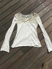NWT Anthropologie Eloise white cream lace floral tee t-shirt henley XS 0