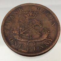 1857 Bank of Upper Canada One 1 Cent Penny Token Copper Canadian Coin B586