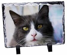 Black and White Cat 'Yours Forever' Photo Slate Christmas Gift Ornamen, AC-80ySL