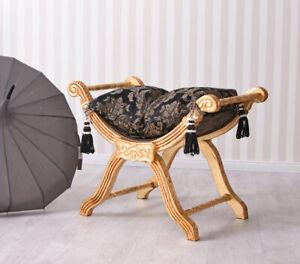 Stool Baroque Sitting Stool Pouf Stool Gold Ottoman Bench Schminktischhocker