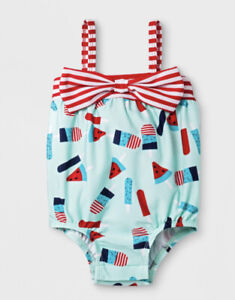 Cat & Jack Infant Baby Girl Popsicle Swimsuit 3-6 Months Watermelon Bow