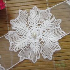 1 yd Vintage Cotton Crochet Pearl Snowflake Lace Edge Trim Wedding Ribbon Sewing