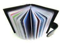 Genuine Soft Black Leather Credit Card Holder Pouch Purse Wallet RFID Blocking