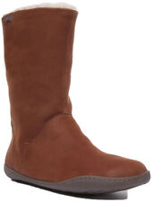 Camper Peu Womens Nubuck Leather Furry Padded Long Boots In Brown UK Sizes 3 - 7
