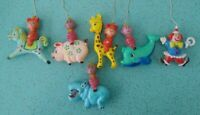 Vintage Mid Century Circus Clown Hippo Giraffe Rattle Mobile Parts Baby Toys