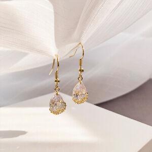 Topaz Womens Flower Earrings 925 Sterling Silver Tear Drop Dangle Hook Ear Bling
