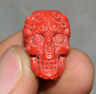 2CM Rare Old Chinese Hongshan Culture Coral Carve Evil Skull Head Amulet Pendant