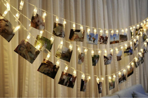LED Clothespin String Lights w/16 bulbs for Hanging Pictures/Photos/Art Q11-31