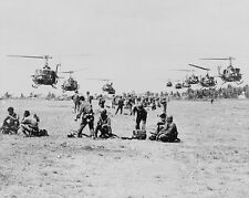 "U.S. Army Bell UH-1D Huey Helicopters with soldiers 8""x10"" Vietnam War Photo 243"