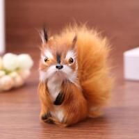 Simulation Fur Squirrel Plush Stuffed Doll Animal Toy Children Gift Home Decor