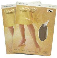 Vintage Cannon Stretch Seamless Stockings Size 8 1/2 Medium Teak New 2 Packs