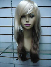 NEW80 charming long blonde mix brown lady's wavy health WIG hair wigs for women