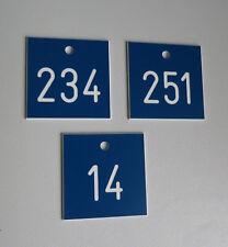 1 Stück PVC Schilder Zahlenmarken Ziffernschilder  40mm x 40mm - blau / weiß