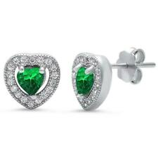 Exquisite Emerald Heart Halo Stud Earrings in Solid Sterling Silver