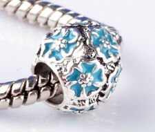 2pcs Painted Sky Blue flowers big hole Beads Fit European Charm Bracelet B870