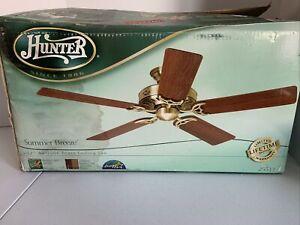 "Hunter 25511 SummeR breeze Indoor brass 52"" Ceiling Fan open box"