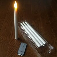 "4 LED Candles 10"" Taper White Remote & 9 Batteries Included Flameless GIFT"