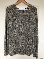 """M&S Autograph"" Chunky Knit Ribbed Jumper, Size 16, Black/White mix, split back"