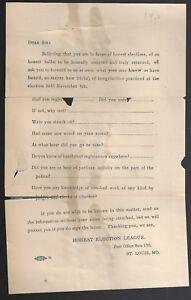 1902 Election Questionnaire, Honest Election League St Louis Mo.