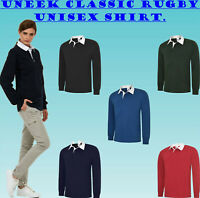 Uneek Classic Rugby Shirt Unisex Cotton Collared Long Sleeve Casual Sports UC402