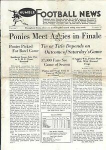 "RARE 1935 ""HUMBLE (Oil) FOOTBALL NEWS"" SMU vs TEXAS A&M, SMU vs TCU Rose Bowl ++"
