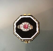 VINTAGE/ANTIQUE 9CT GOLD RUBY & CZ STONE RING QUALITY SIZE I STAMPED