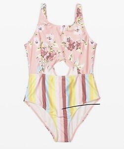 Volcom Bloomin On Up Pink 1pc Tie-knot Swimsuit Youth Girls Sz 8 ZP-5106