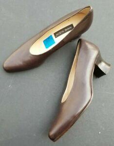 Anne Klein Brown Leather Heels Shoes 7N Italy