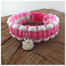 "Hello Kitty enfant Paracord Bracelet Breloque Amitié Bracelet 7"" Fait Main UK"