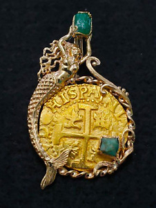 PERU 1715 FLEET EMERALDS 8 ESCUDOS  PENDANT PIRATE GOLD COINS TREASURE JEWELRY