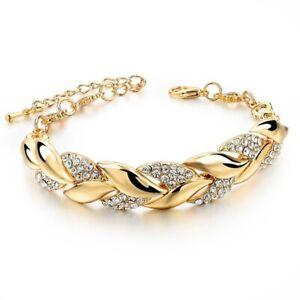 Women Exquisite Rhinestone Crystal Gold Bracelet Adjustable Bangle Cuff Jewelry