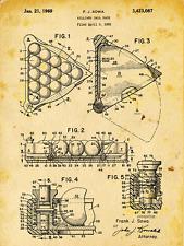 Billiard Rack Patent Drawing Metal Sign, Pool, Vintage, Sport, Den Décor, Office