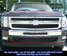For 2007-2012 Chevy Silverado 1500 Black Billet Grille Grill Combo Insert