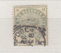 GB QV 1883 5d Green Perfin SG193 Squared Circle CDS VFU J8486
