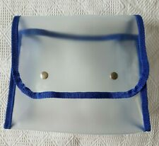 Small Storage Pouch Bag ~ Clear with Blue Trim ~ Snap Fastener Fold-Over Closure