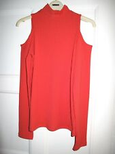 Asos bright red ribbed cold shoulder long sleeve top UK10 EU38 US6