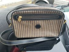 Authentic FENDI Pecan stripe pattern vintage Shoulder Bag Coating canvas.