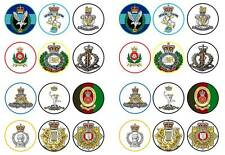 24 cake topper Army regimental badges cap bun fairy cupcake toppers party