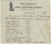 1921 Perry Missouri Perry Telephone Company Wm. N Stehle Illustrated Invoice