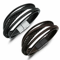 Mens Handmade Leather Braided Cuff Wristband Bracelet Bangle Jewellery Gifts